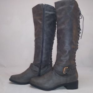 Sociology lace up boot zipper knee high 7 1/2 new